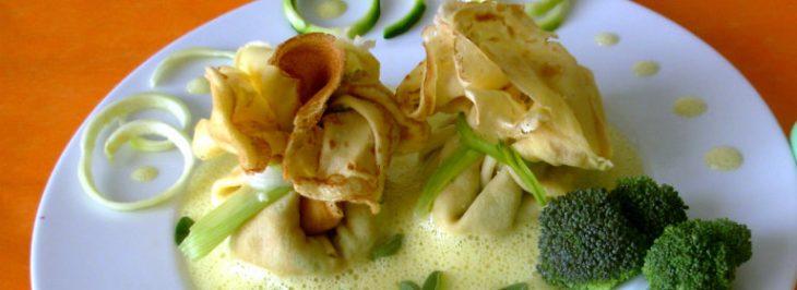 Aumônieres alle verdure con zabaione salato