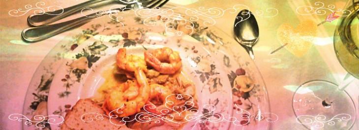 Antipasto di carciofi e gamberi con crema allo zafferano