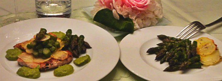 Filetto di tonno agli asparagi e chips di patate