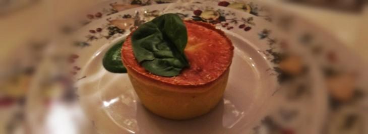 Flan di Parmigiano reggiano con crema di spinaci novelli
