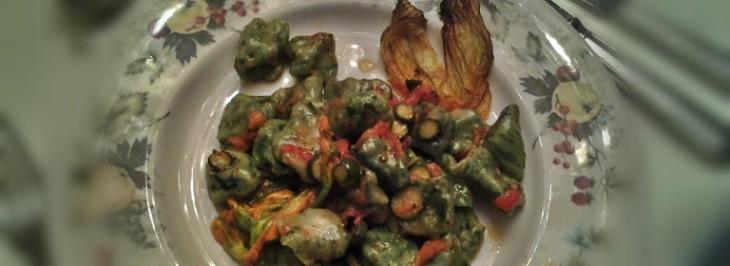 Gnocchetti alla rucola con zucchine in fiore