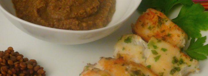 Merluzzo e purè di lenticchie