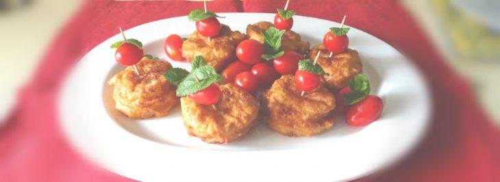 Mozzarelline di bufala in pastella con pomodorini e menta