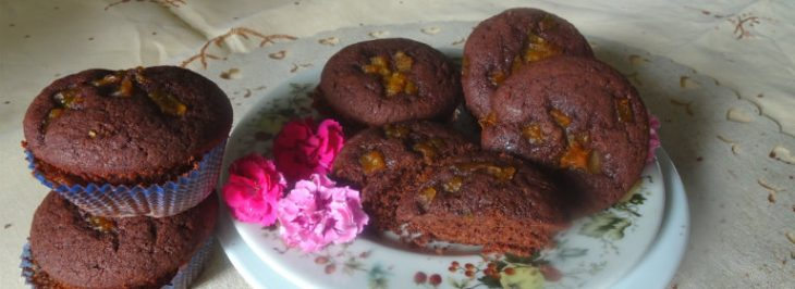 Muffins al fondente con zucca caramellata