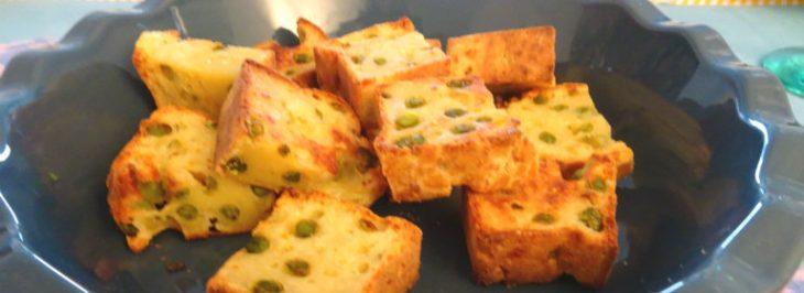 Plumcake salato vegetariano con piselli e grana padano
