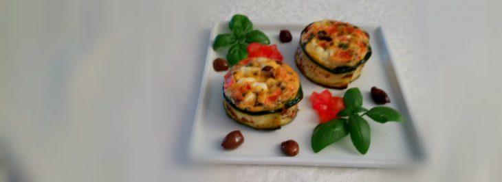 Sformatini con feta, pomodori e olive taggiasche