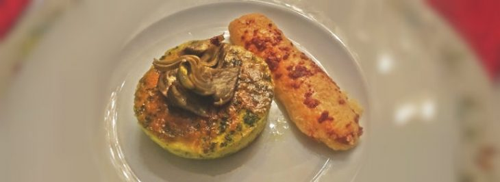 Sformatini di grana con carciofi e grissini al formaggio