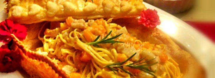 Tagliolini ai topinambur e zucca in pasta sfoglia