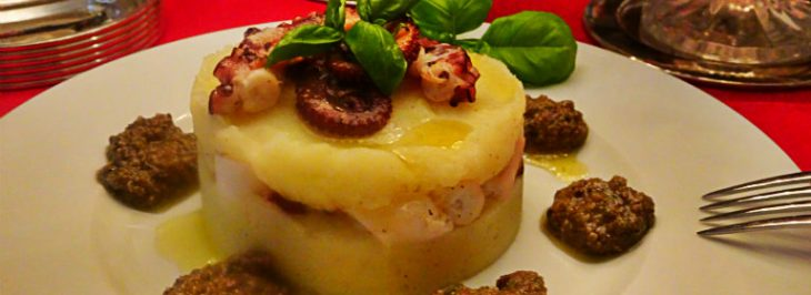 Tortino salato di polpo e patate con pesto di olive taggiasche