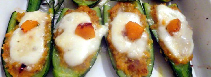 Zucchine con ripieno di zucca e salsiccia