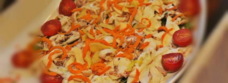 Carpaccio di polpo con carote, sedano e zenzero