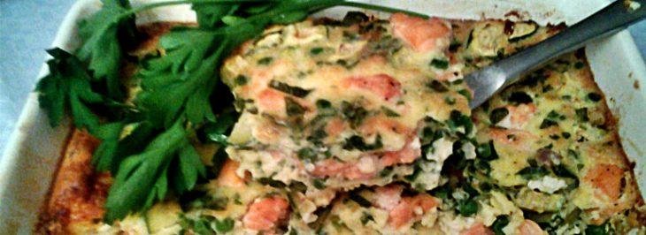 Clafoutis al salmone, zucchine e piselli