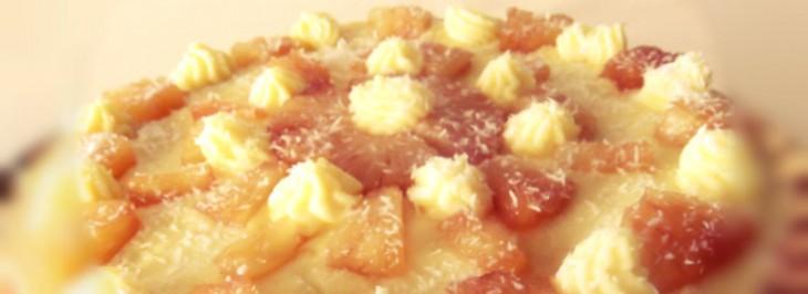Crostata con ananas caramellato e crema pasticcera