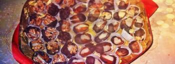 Noci, datteri e fichi con marzapane e cioccolato