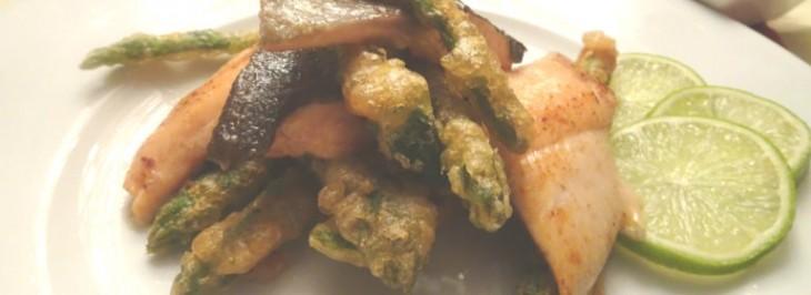 Filetti di trota con asparagi dorati