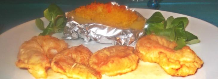 Patate al riso giallo con gamberi fritti