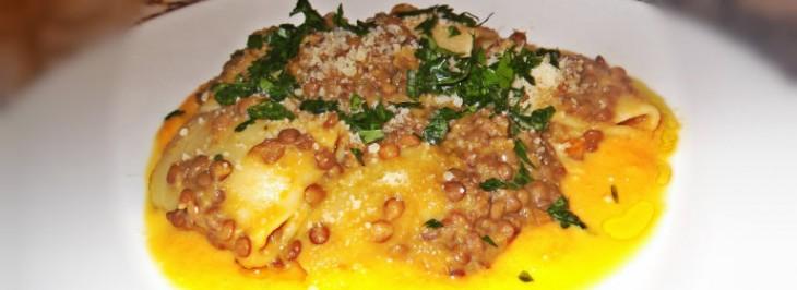Paccheri con lenticchie e crema di zucca