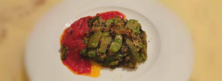 Pasticcio di piattoni verdi con salsa di pomodoro