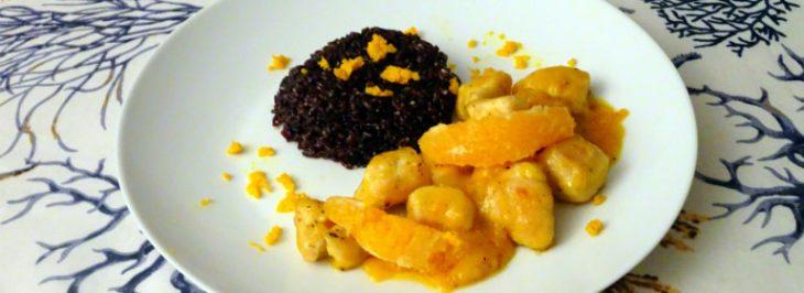 Pollo all'arancia con riso nero venere