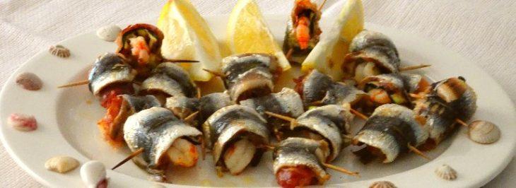 Sardine farcite di gamberi, prosciutto e zucchine