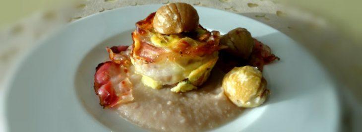 Sformatino di finferli con pancetta croccante e crema di castagne