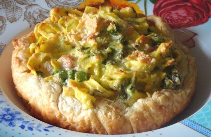 Soufflé di tagliatelle in crosta con asparagi e speck