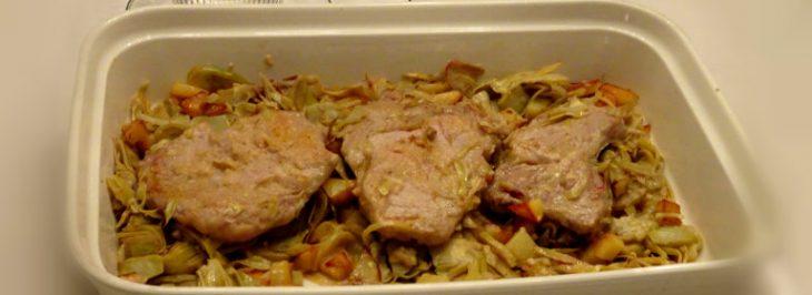 Fettine di carré di vitello disossato con carciofi e patate